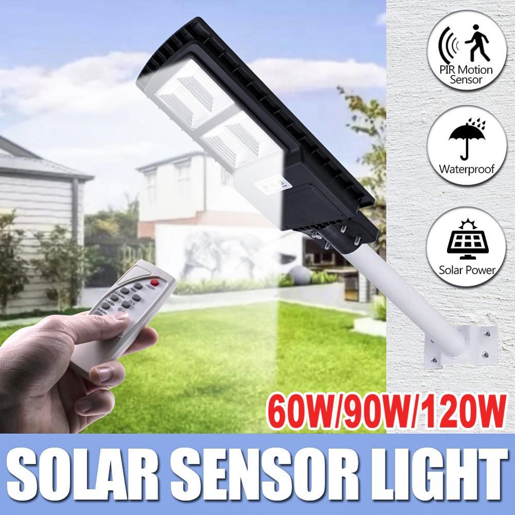 120W 240LED Solar Radar Sensor de movimiento farola exterior impermeable lámpara de pared con control remoto Cotrol para jardín Parque