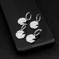 2021 stainless steel little daisy earrings ear clip women long pendant stainless steel cute new ear wedding jewelry wholesale