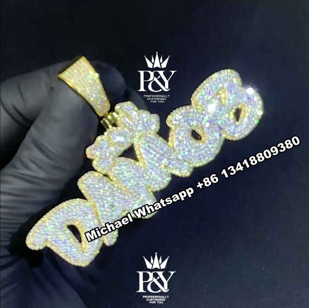 P&Y Shining Mens Pendant Custom Initial Name Letter Styles Lab Moissanite Diamonds Iced Out Custom Pendant Hip Hop Jewelry