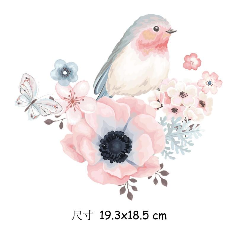 Нашивки с утюгом для одежды с изображением розовых птиц и цветов, виниловые термонаклейки на женскую футболку, аппликация, милые нашивки «с...