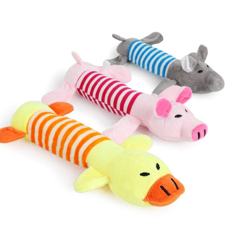 DRESSPET Juguetes para perros chirrido interactivo piggy elefante pato divertido peluche masticar juguetes para perros pequeños cachorro