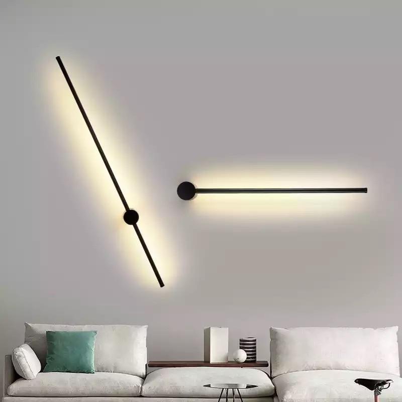 Moderna lámpara de pared LED colgante largo luces Simple nórdico sofá sala de estar Fondo luz de pared dormitorio cabecera lámpara de pie gratis sh