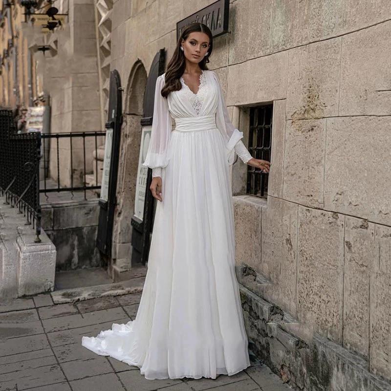 Elegant Wedding Dress Chiffon With Floor Length V-neck Full Sleeve Bride Gowns Ruched  Backless Plus Size Вясельная Сукенка