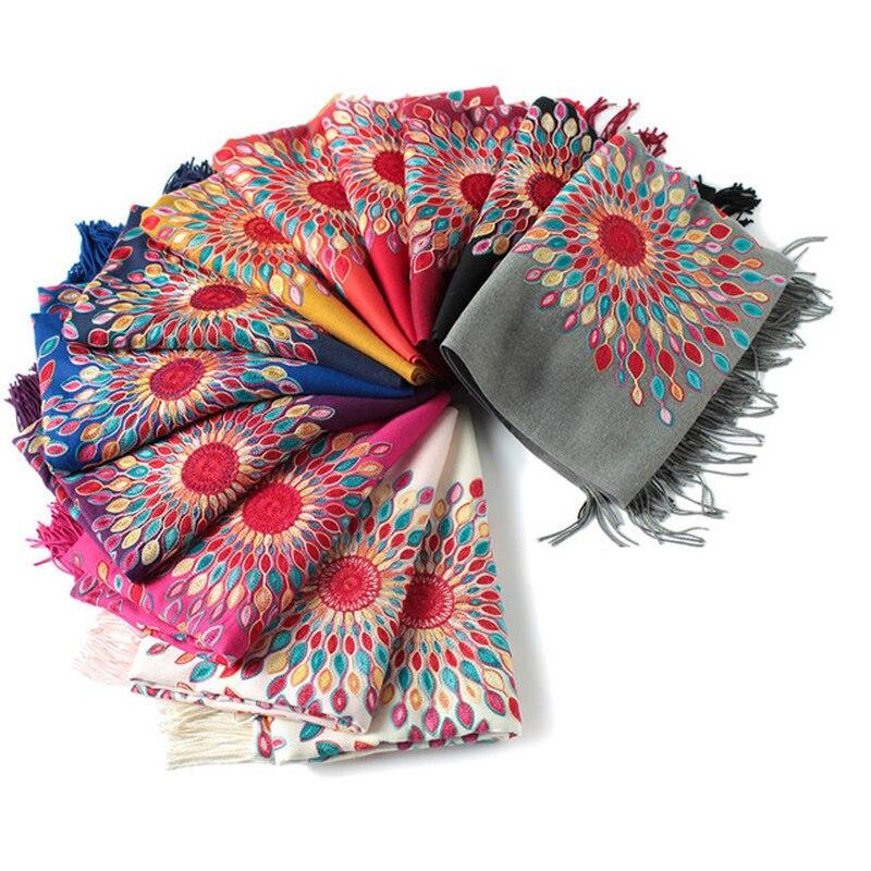 Inverno 360g grosso delicado floral bordado xale feminino cashmere pashmina cachecol moda borla longo sjaal echarpe foulard femme