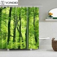 Rideau de douche en tissu Polyester  plantes tropicales vertes  imprime feuilles  accessoires de salle de bain  1 piece