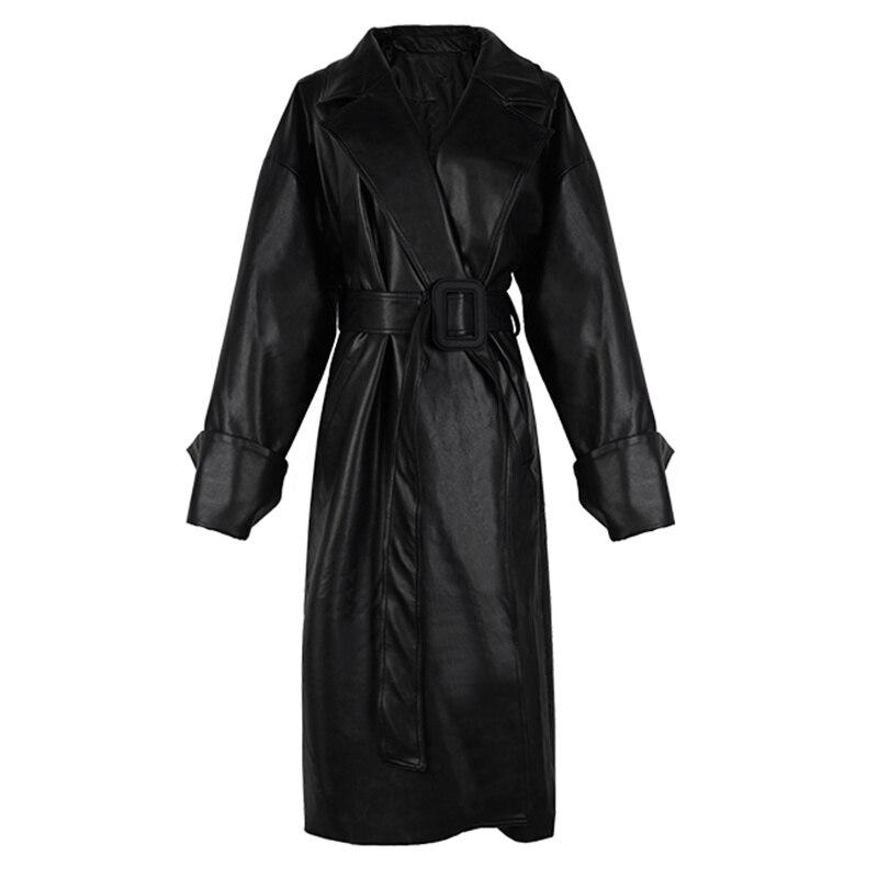 Модель 2021 года, Длинная кожаная оверсайз одежда, свободный крой, с отворотом, осенняя Стильная черная одежда, уличная одежда