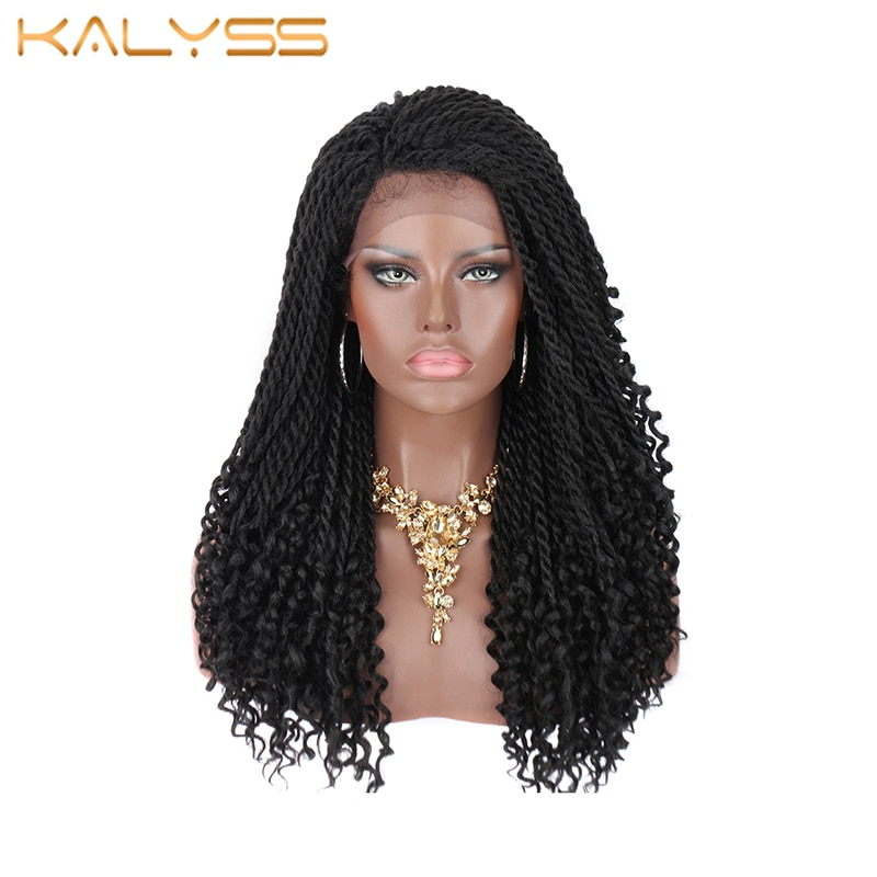 KALYSS 20 Inches Lace Front Braided Wigs for Black Women african Wig Synthetic Twist Wig with curly ends Ombre Red Black Wig