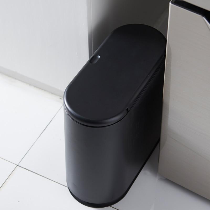 White Trash Can Rectangular Plastic Home Desk Pressing Type Waste Bins Bathroom Kitchen Basurero Cocina Cleaning Tools EH50WB enlarge