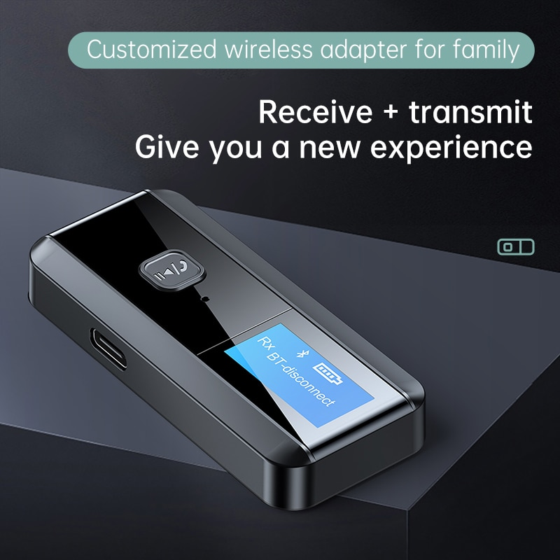 New USB Dongle Bluetooth 5.0 Audio Receiver Transmitter With LCD Display Mini 3.5mm AUX RCA Wireless