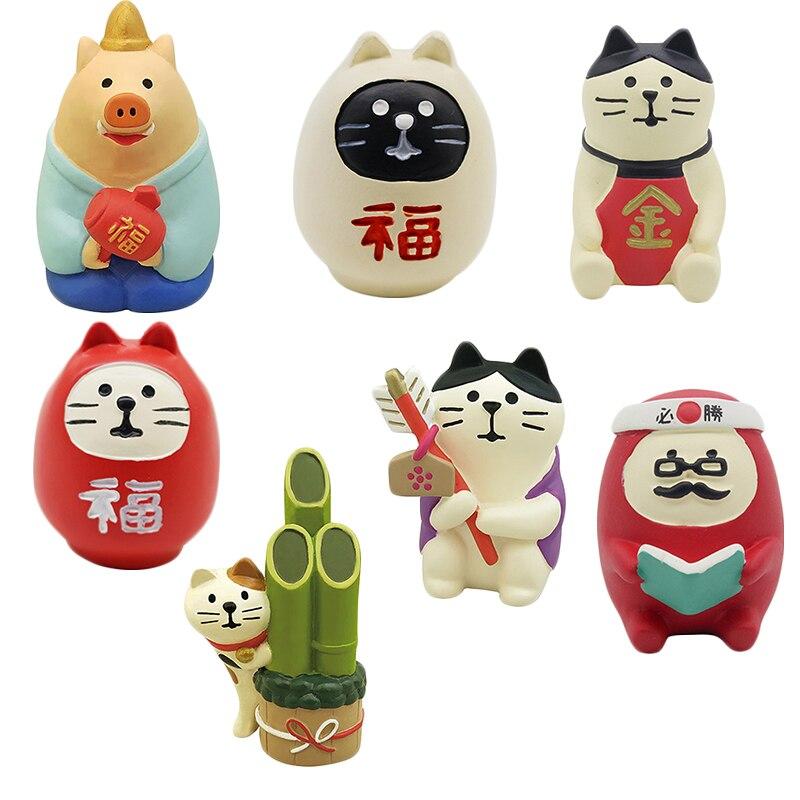 16 Soorten Japan Kawaii Cartoon Maneki Neko Lucky Lapjeskat Rit Koi Nieuwe Jaar Mascotte Ornament Desktop Woondecoratie Accessoires