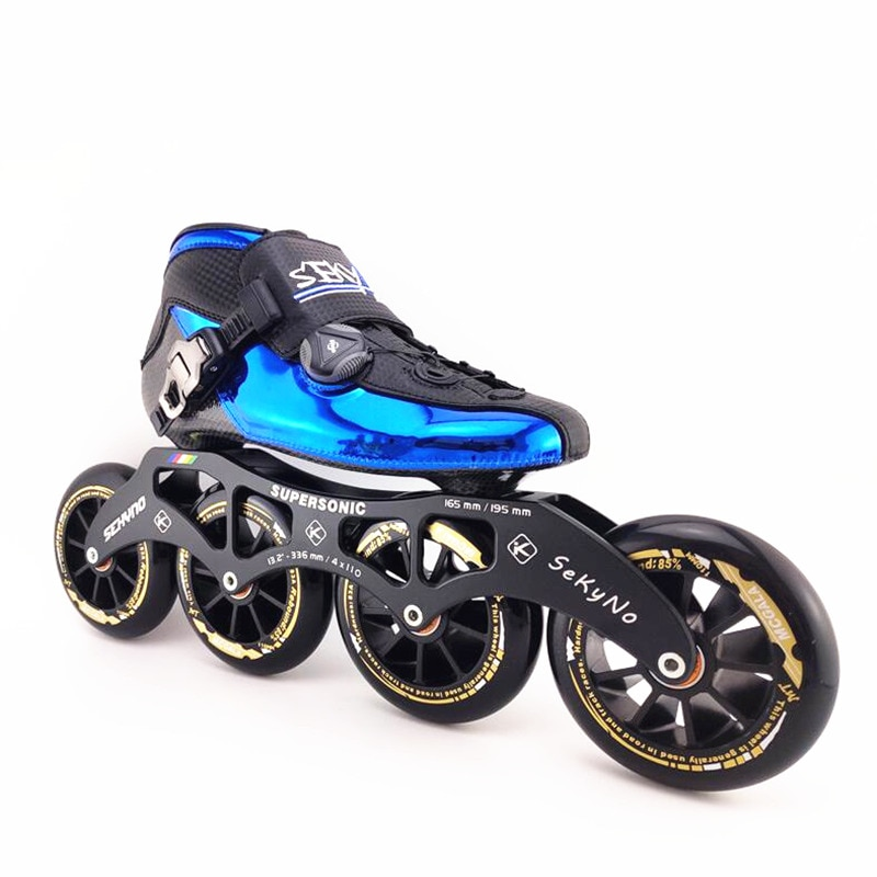 Slightly Thermalmoldable carbon fiber inline speed skates shoes 6 layer fibre ultralight boot Flyke 4 wheels knob button rotate