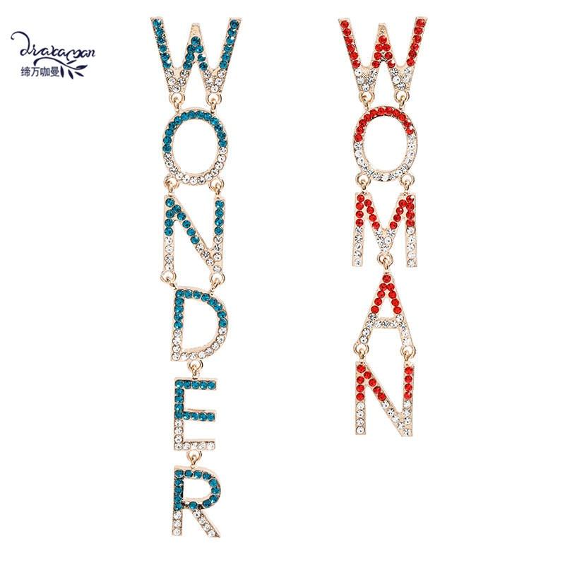 Dvacaman lettre merveille femmes déclaration boucles doreilles asymétrique cristal Alphabet longue goutte boucles doreilles bijoux de fête en gros cadeaux INS