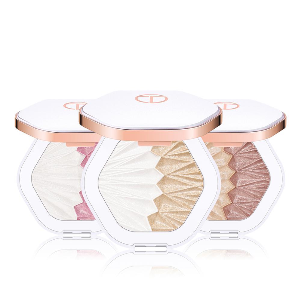 OTWOO, 2 colores, resaltador brillante, polvo comprimido, colorete, contorno de cara, cosmético