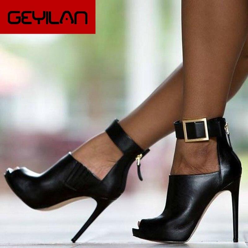 Aneikeh Gladiator Women Pumps Ladies Sexy Buckle Strap Roman High Heels Open Toe Sandals Party Weddi