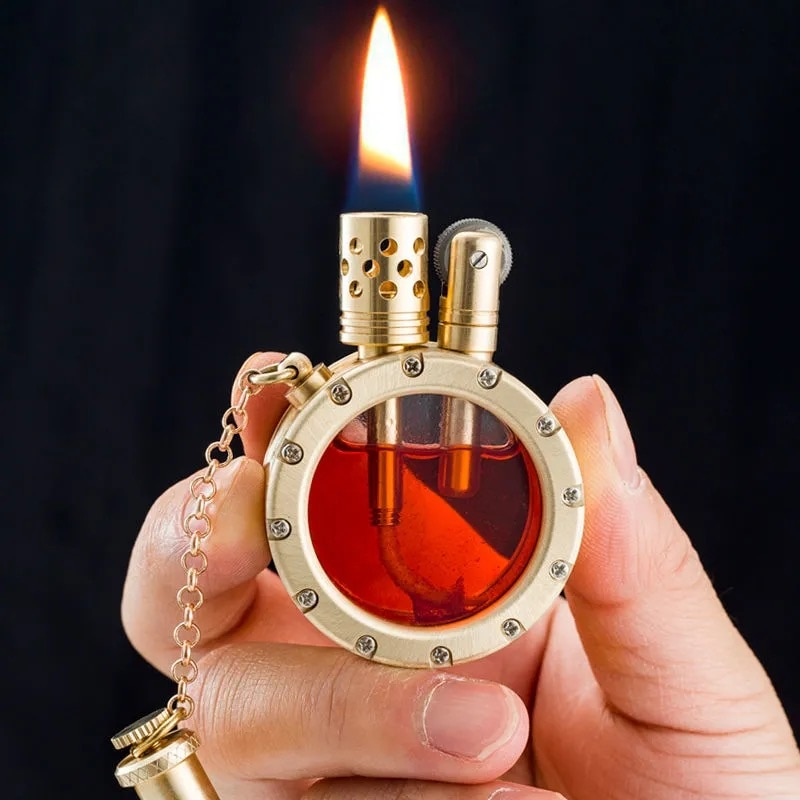 Бензиновая Зажигалка ручной работы из чистой меди, кварцевые прозрачные зажигалки с видимым резервуаром для масла, портативная круглая Коллекционная зажигалка, подарок для мужчины