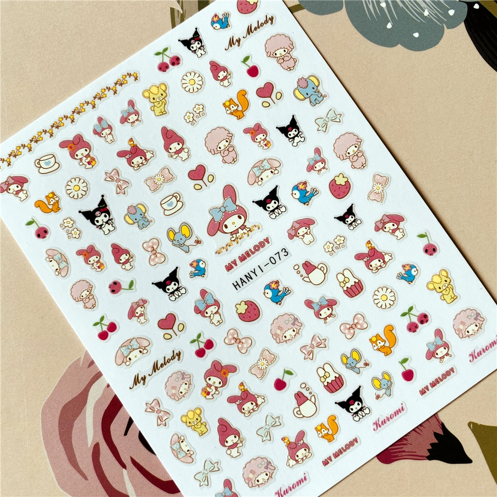 HANYI-070-071-073 de dibujos animados anime KIKI 3D pegamento posterior calcomanía adhesiva para uñas decoración de uñas herramienta de decoración de uñas