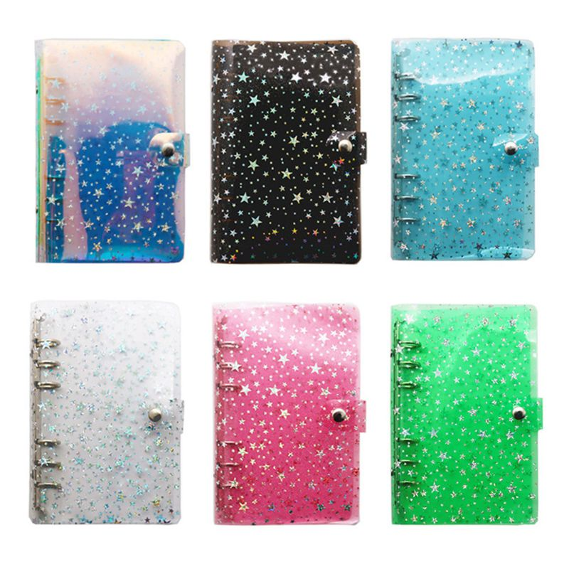 A5 A6 Star Loose Leaf Binder Notebook Inner Core Cover Journal Planner Office Stationery Supplies a5 a6 glitter sequins loose leaf notebook inner core cover 6 rings binder gold rose gold file folder kawaii stationery
