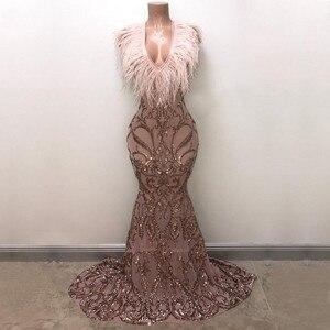 Elegant Prom Dresses 2020 Sparkly Mermaid V-neck rose gold Sequin Feather African Girl Evening Dresses Vestidos de fiesta