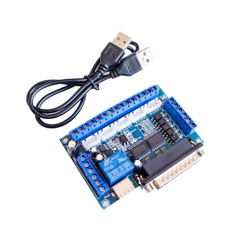Interfaz de placa de ruptura CNC de 5 ejes 1 Uds. Con Cable USB para controlador de Motor paso a paso MACH3 CNC, Control de placa de puerto paralelo