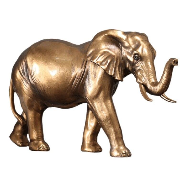 Imitação de Ouro Decoração para Casa Moderna Cobre Elefante Escultura Mesa Decoração Estatuetas Arte Simulação Resina Animal Artesanato