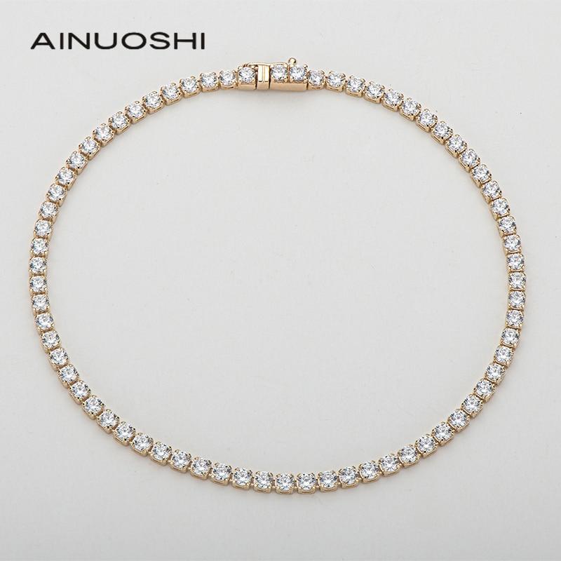 Get AINUOSHI 14K Yellow Gold 2.1mm Round Cut SONA Diamond Trendy Tennis Bracelet for Women Hip Hop 1 Row Charm Bracelet Jewelry 7″