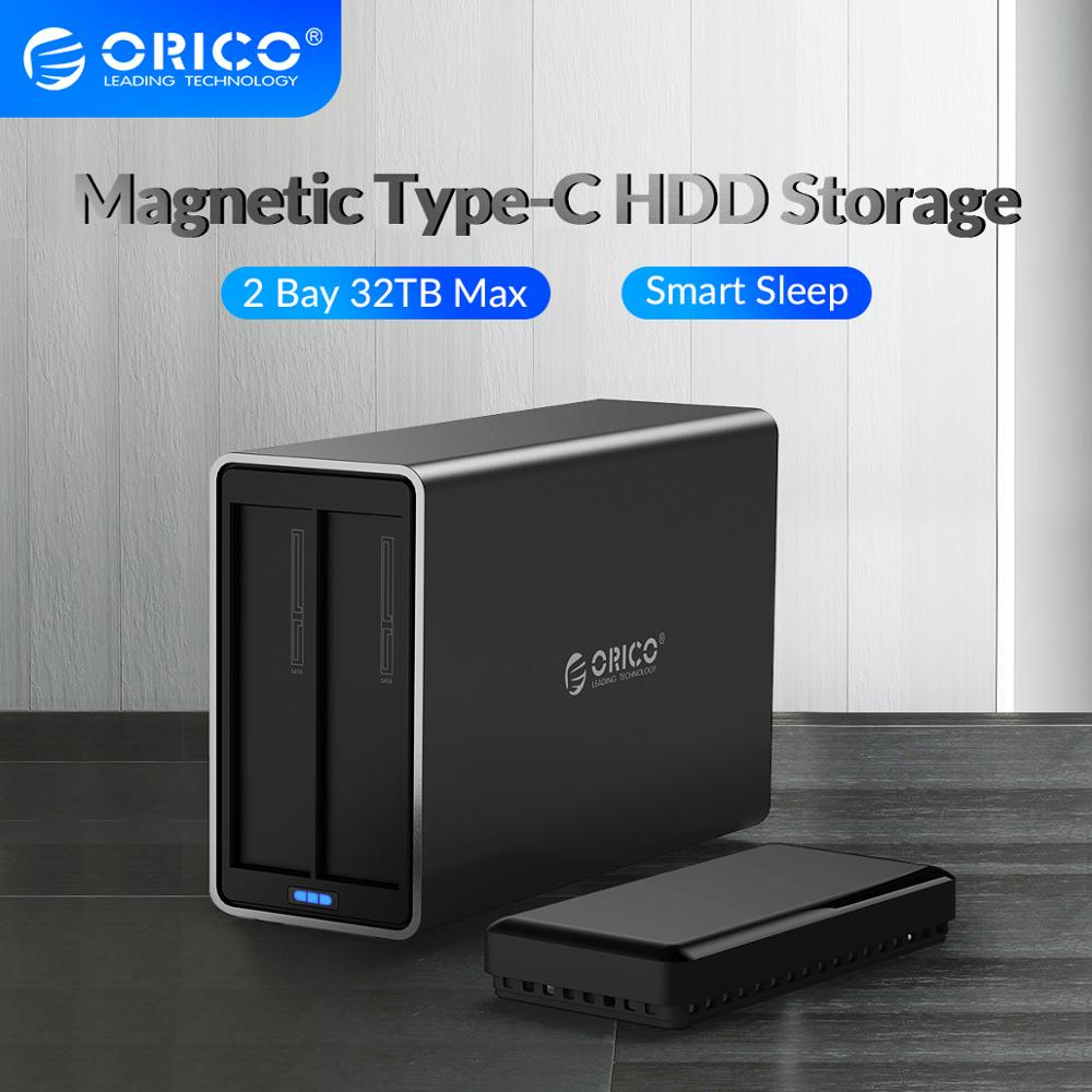 ORICO NS Series 2 Bay 3.5'' Type C HDD Docking Station Aluminum HDD Enclosure Support 32TB 5Gbps UASP 48W Power HDD Case