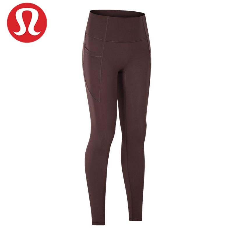 LULU-pantalones de Yoga de cintura alta sin línea en T, con bolsillos...
