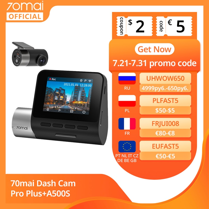 70mai A500S داش كام برو زائد + 1944P لتحديد المواقع ADAS كاميرا أمامية للسيارات المزدوج البصر كام 70mai برو زائد + A500S جهاز تسجيل فيديو رقمي للسيارات 24H وقو...
