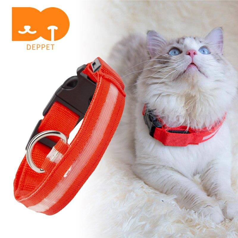 Deppet LED Collar de Nylon para gatos perro ajustable para Collar para mascota Collar de gato de seguridad Breakaway suave y no cero