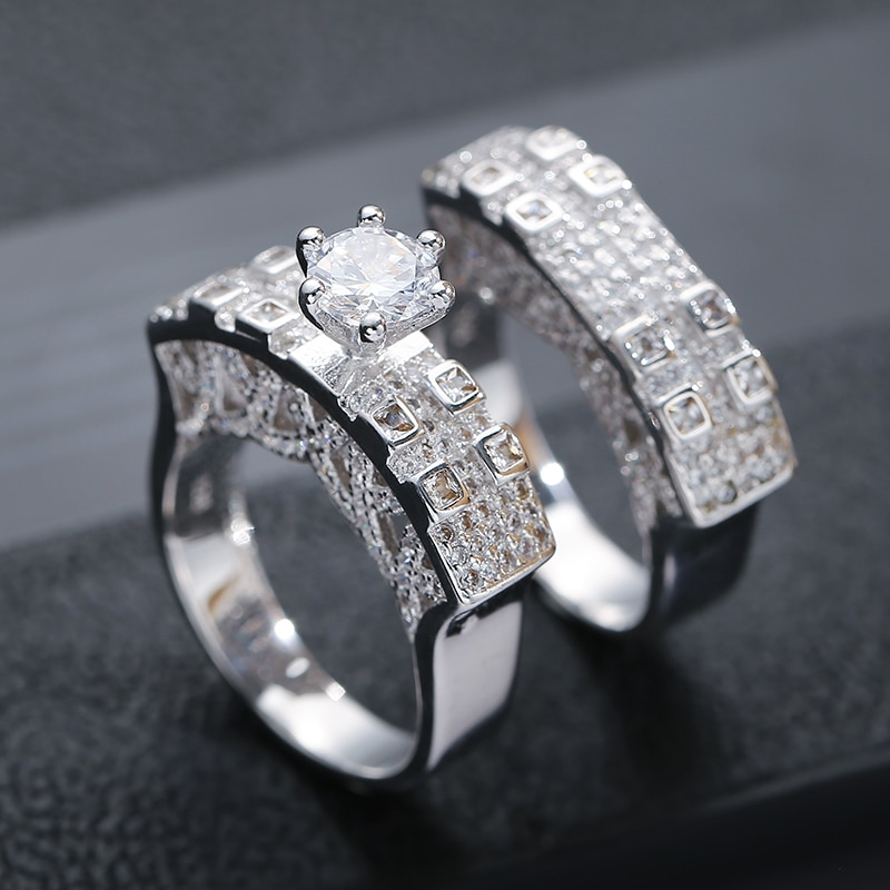 Kinel de plata esterlina 925 caliente Color conjunto de anillo de compromiso de boda para las mujeres con piedra de circón grande anillo de joyería de moda 2020