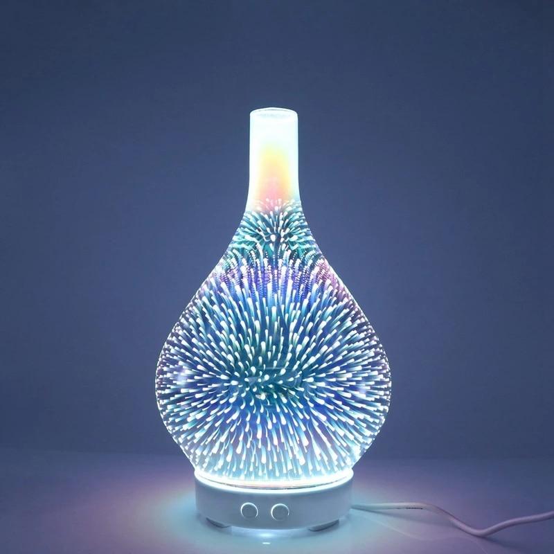 الإبداعية ثلاثية الأبعاد المرطب الملونة LED مصباح لتهيئة الجو الألعاب النارية الزجاج زهرية المرطب الروائح الناشر زيت طبيعي