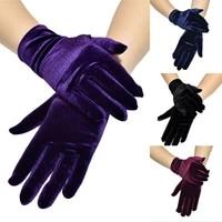 soft elastic hand warmer gold velvet gloves for women more style beautiful fashion solid color 229cm full finger gloves
