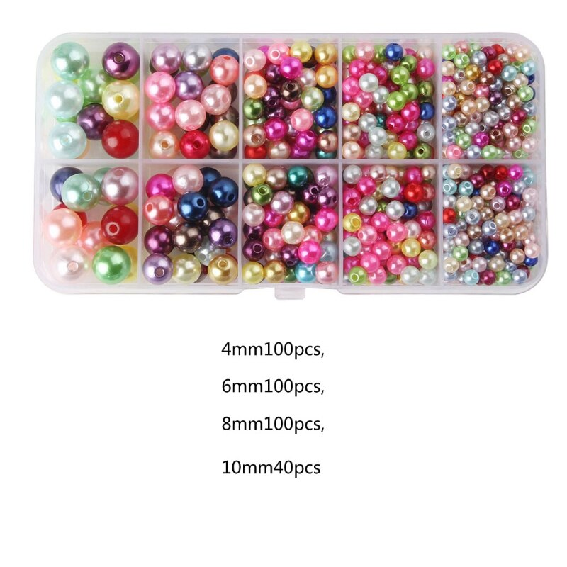 Pearl Round Beads with Case 340Pcs Craft DIY ABS Round Imitation Pearls Faux Pearl Beads for Jewelry Making Decoration faux pearl espadrille flatform sliders
