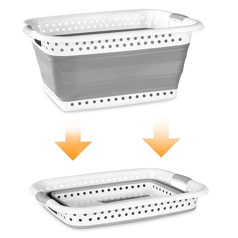الحمام المنتج سلة الغسيل Orgnizer صندوق تخزين ملابس الفضاء توفير القماش غسل للطي كبيرة قابلة للطي المنبثقة بن H99F