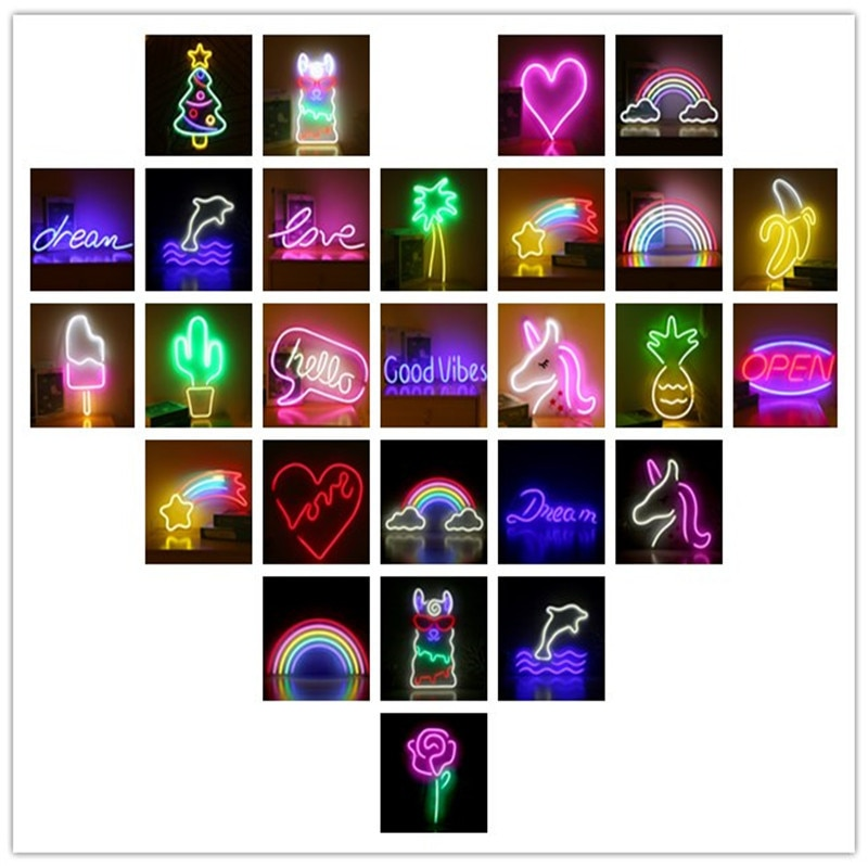 23''x 16''Happy Birthday Led Light Neon Signs Light Party Flex Transparent Acrylic  Neon Light Sign Wedding Party Decoration enlarge