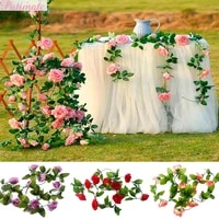 Guirlande de roses artificielles en soie  2 4M  fausses fleurs  pour un mur de maison  pour une decoration de mariage
