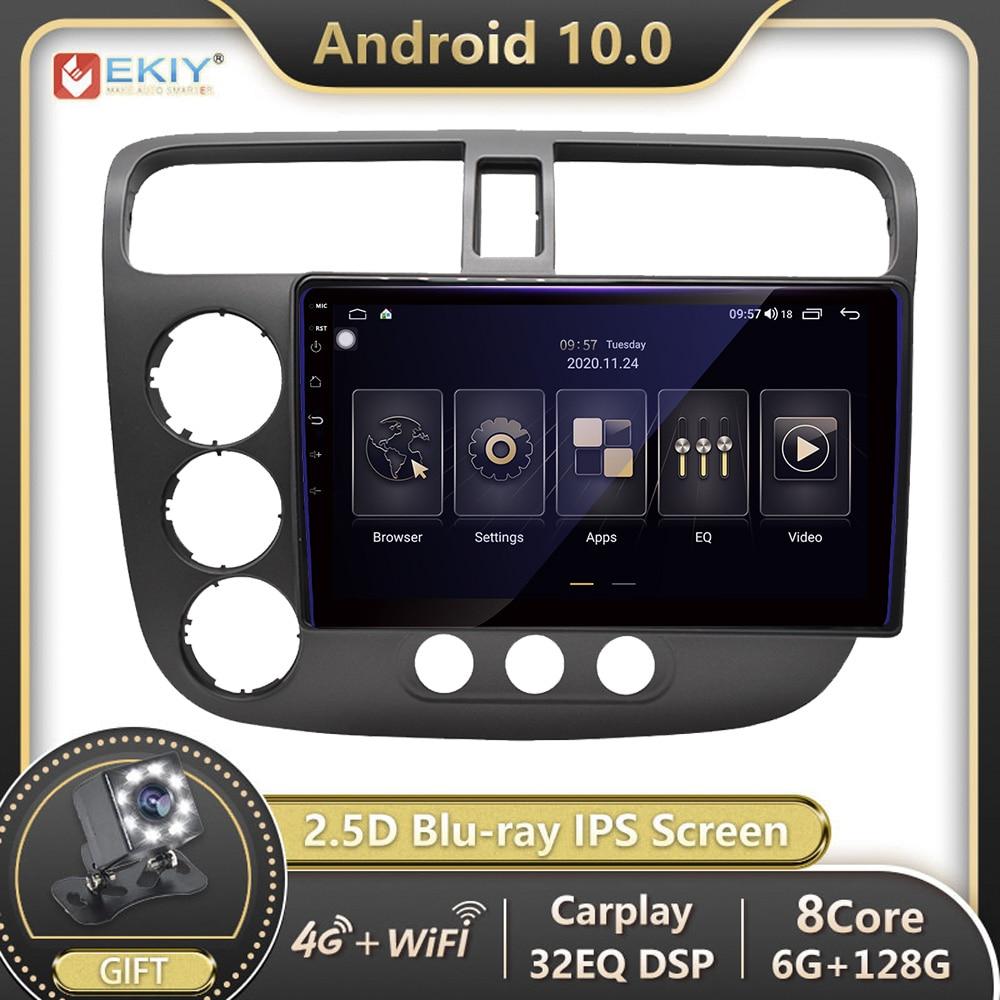 EKIY 1280*720 IPS Autoradio Android 10 For Honda CIVIC 2000-2006 Car Radio Multimedia Video Player GPS Navigation no 2 din 2din