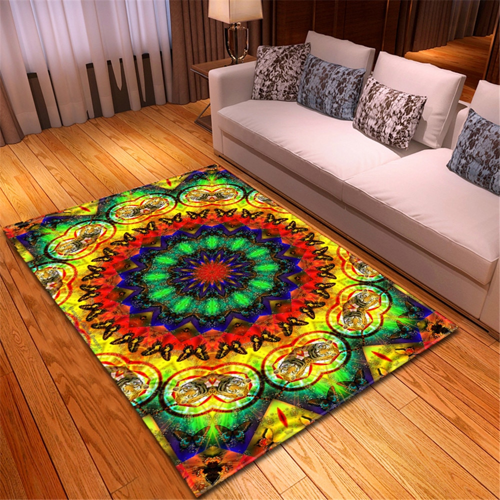 Tapis de salon Style Morrocan   Tapis antidérapant en flanelle douce, tapis de grande maison, décoration de salon, chambre à coucher, zone de chevet