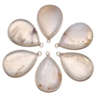 natural agates stone pendants waterdrop shape white agates stone charms for jewelry making necklace bracelet gift