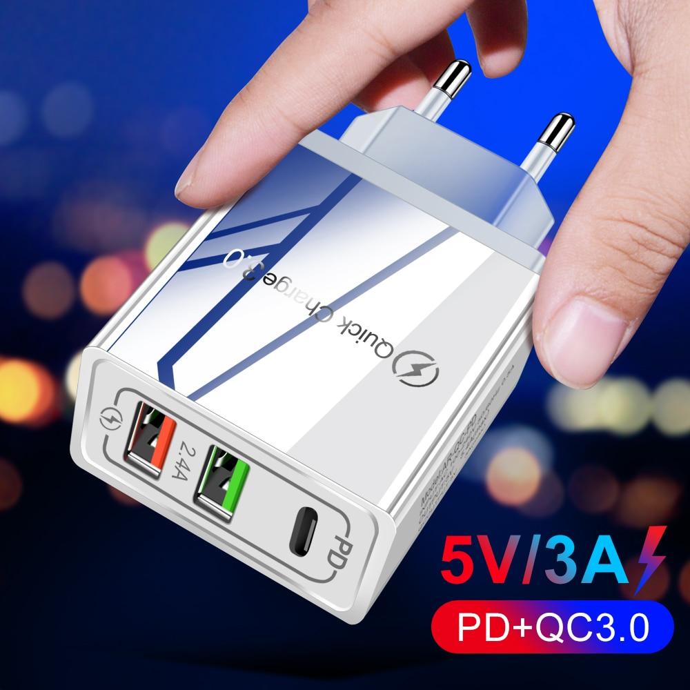Carga rápida 3.0 pd usb carregador universal 30w usb tipo c carregador rápido adaptador de energia para iphone 12 8 plus xiaomi telefone ipad Carregadores de celular    -