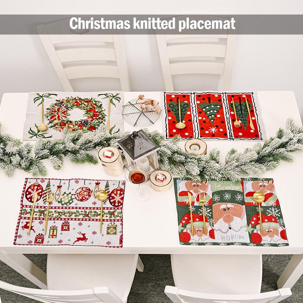 Natal de malha placemats jantar festivo retângulo mesa esteiras acessórios para casa cozinha café chá festa decorações