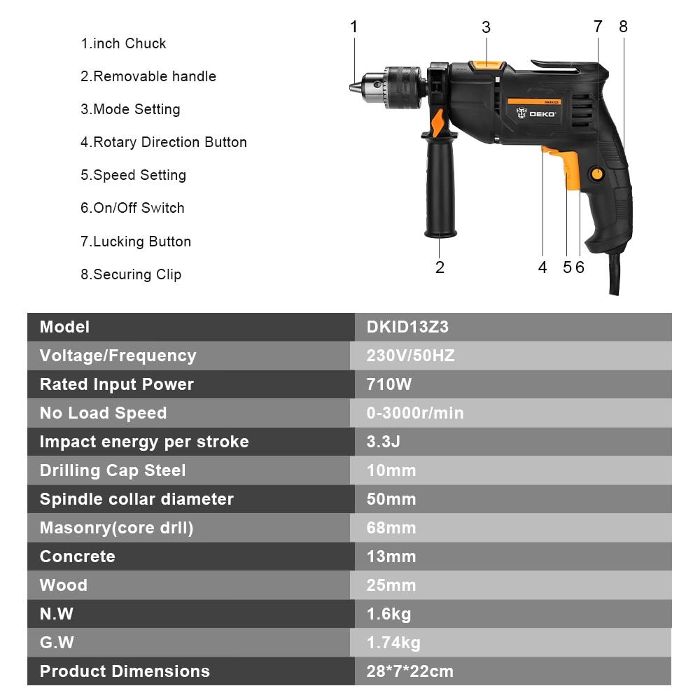220V löökpuur 2 funktsiooni elektriline puurvasaraga - Elektrilised tööriistad - Foto 5