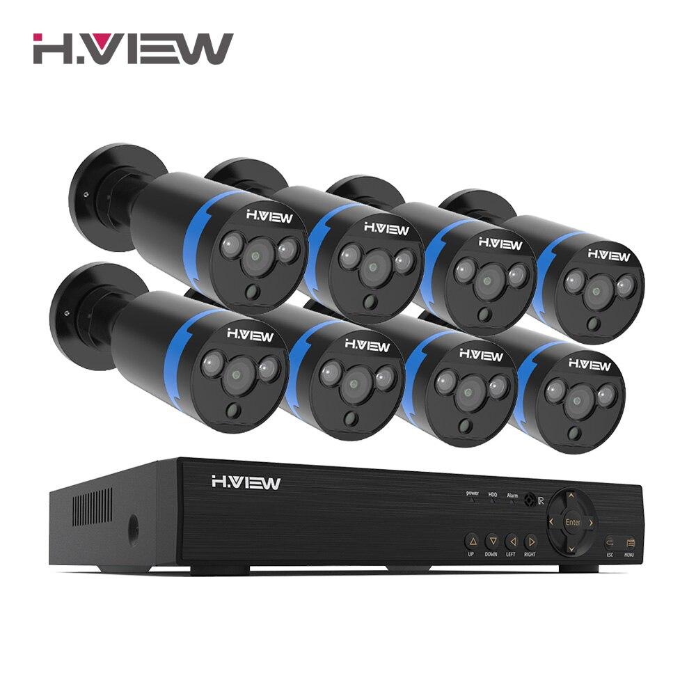 H.View 16CH система видеонаблюдения 8 1080P наружная камера безопасности 16CH CCTV DVR комплект видеонаблюдения iPhone Android Удаленный просмотр