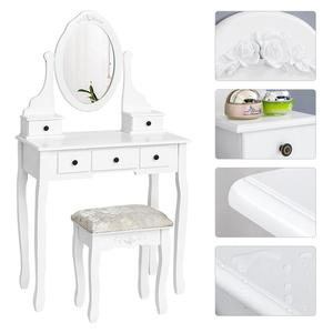 Modern Wooden Dressing Table Set Concise 5 Drawer With 360 Rotation Mirror Makeup Dresser Chair Jewelry Organizer HWC