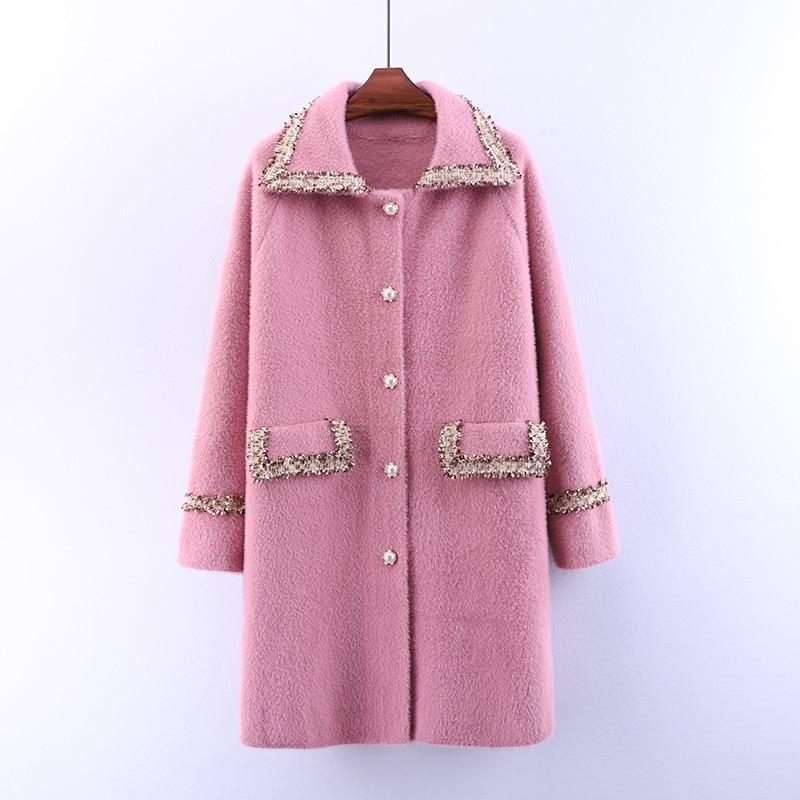 2020 Otoño Invierno mujeres abrigo nuevo Mink abrigo largo moda cárdigan de punto Abrigos Mujer gruesa