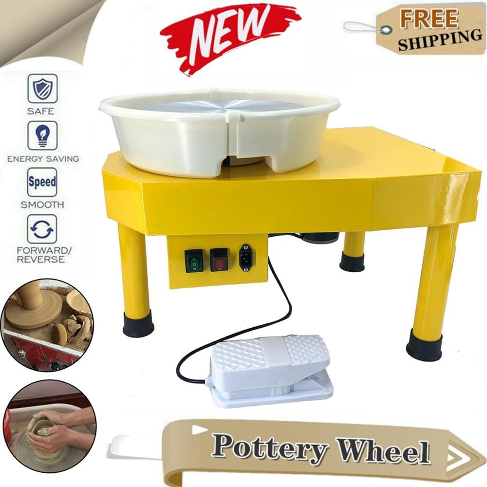 Máquina de moldeo por rueda eléctrica de cerámica, 350W, artesanía con arcilla DIY, tocadiscos de 30cm + Pedal de pie, trabajo de moldes de cerámica