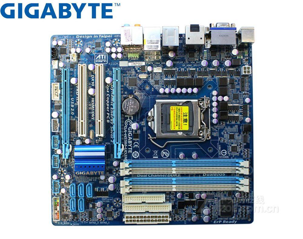 Gigabyte GA-H55M-UD2H original placa-mãe lga 1156 ddr3 H55M-UD2H usb2.0 16 gb dvi vga hdmi h55 usado desktop placas-mãe