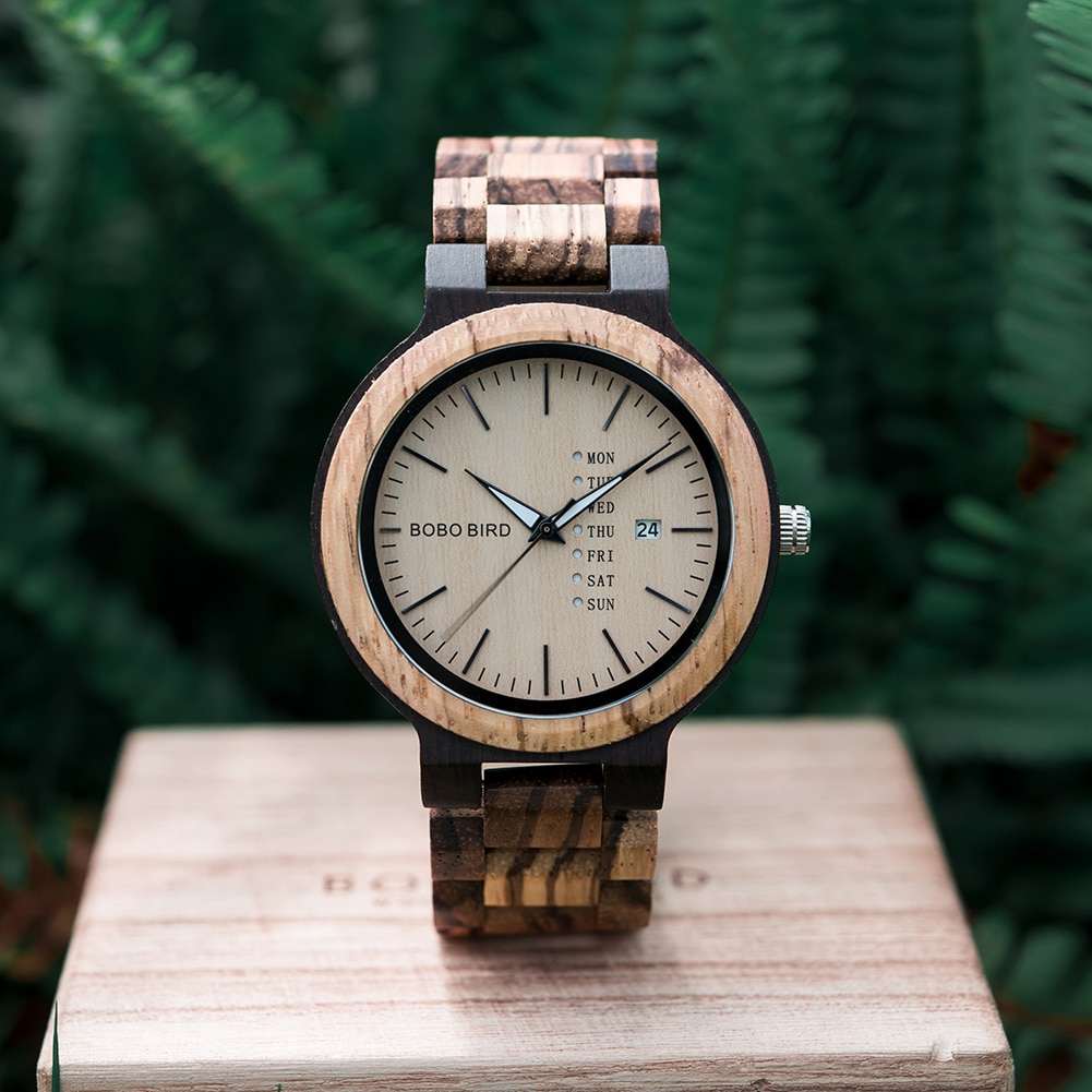 Мужские наручные часы BOBO BIRD Wood, кварцевые часы для мужчин, часы с календарем, дисплей недели в подарочной коробке, erkek kol saati