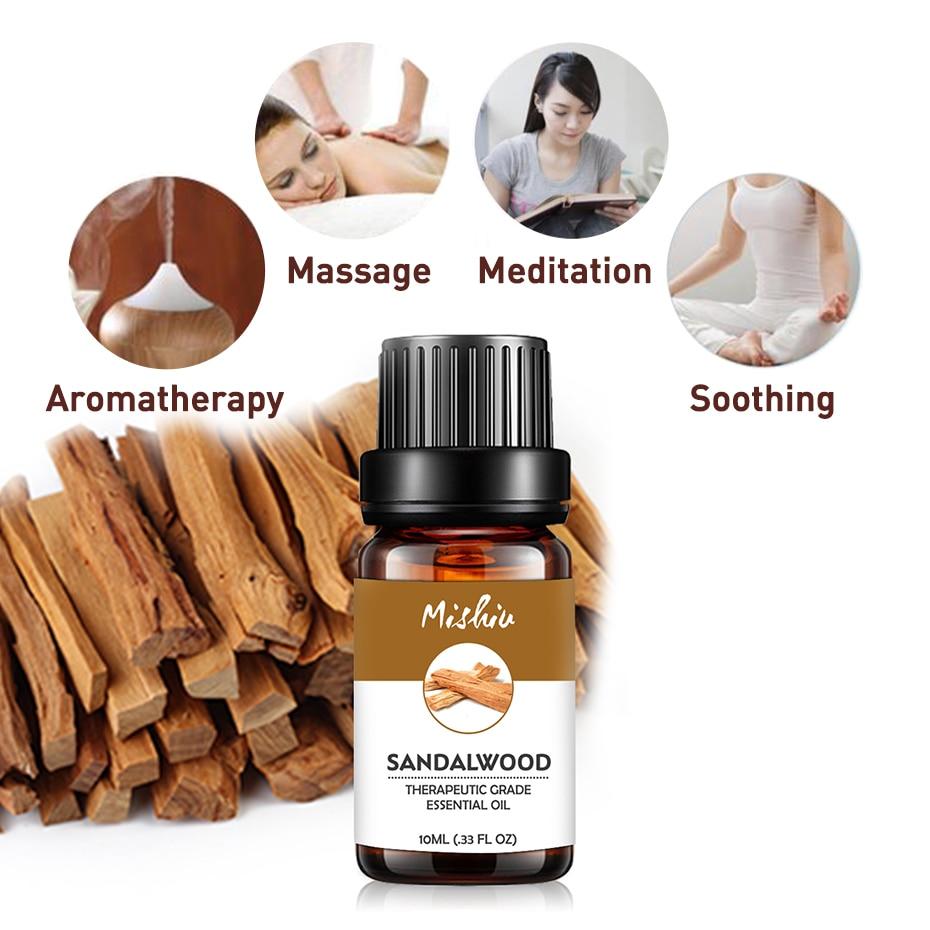 Mishiu 10ML aceite esencial de sándalo alivia la tensión y calma las emociones difusores de Salud de la piel aceite saludable calmante aire cuidado fresco