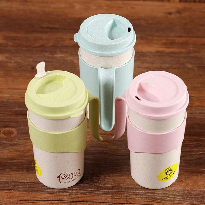 Gran oferta, creativa, fibra de cascarilla de arroz, tazas de café y leche con tapa para el hogar, oficina, tazas de agua del té para viajes al aire libre, tazas de Color Natural